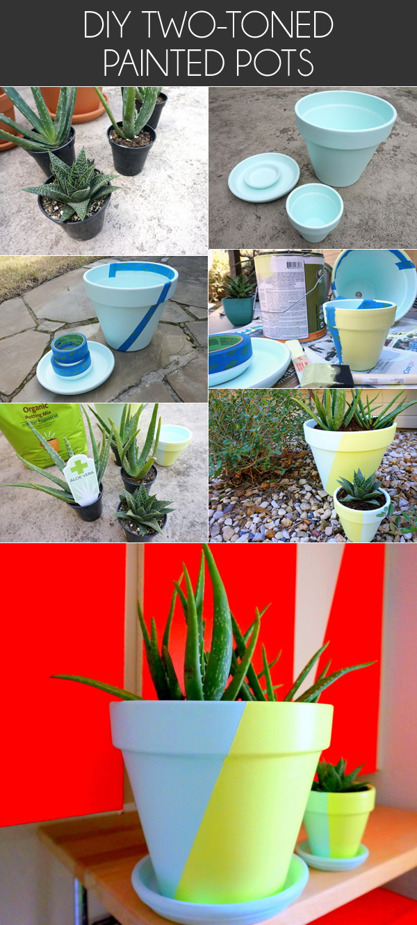 diy two toned painted pots Create Your Own Two Tone Painted Pots With This Easy DIY Project