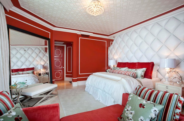 dkor interiors inc  Red And White Bedrooms Perfect For Valentines Day