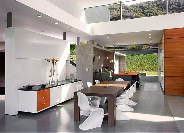fancy kitchen decor with concrete walls
