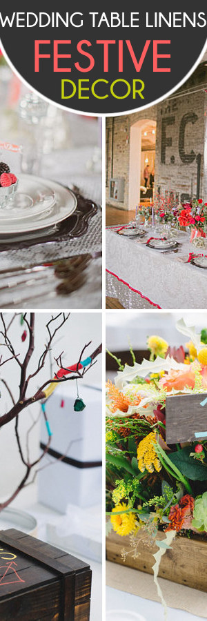 festive wedding table linens