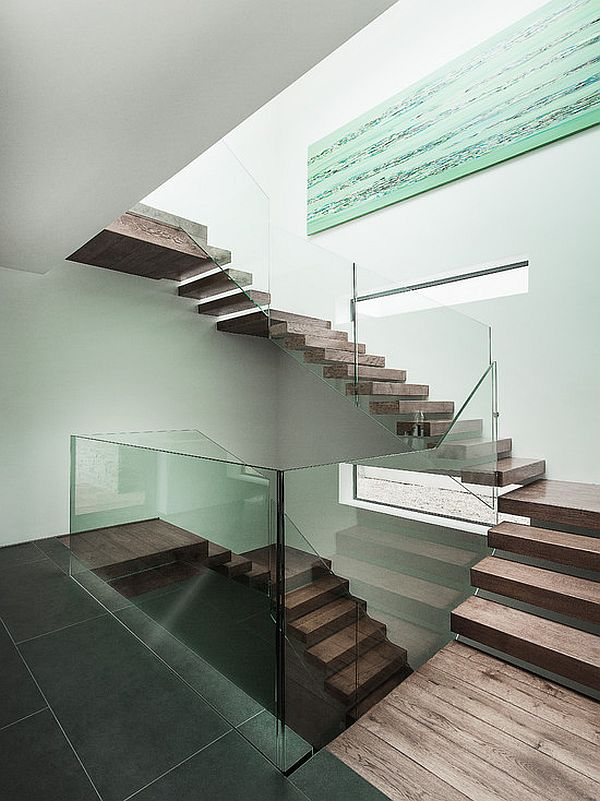 gray tile staircase landing