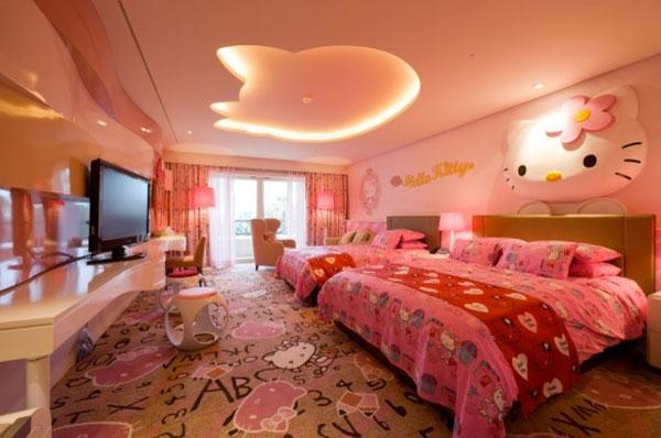 Hello kitty girls room designs for Big teenage room ideas