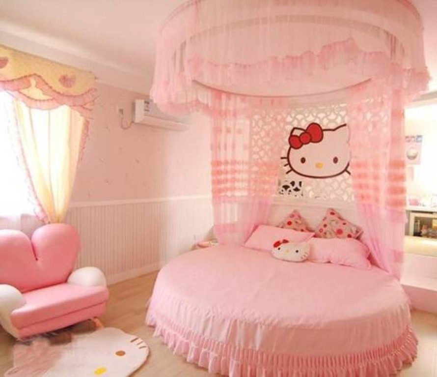Hello kitty girls room designs Bed designs for girls