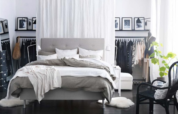 grey black and white ikea bedroom