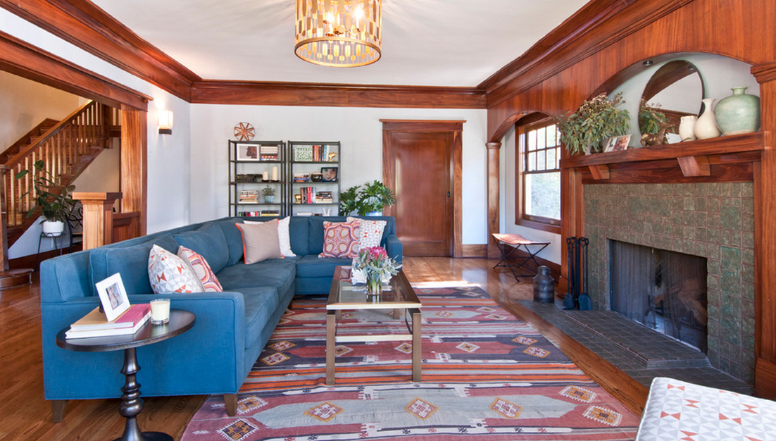 kilim rug craftman style living room