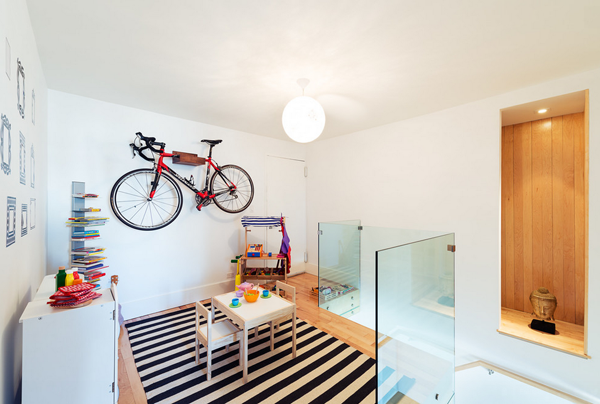modern home playroom bike rack