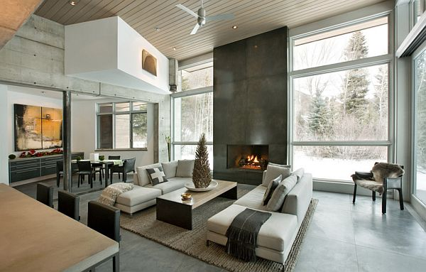 modern living room concrete walls