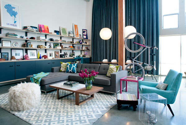 modern living room with bike storage