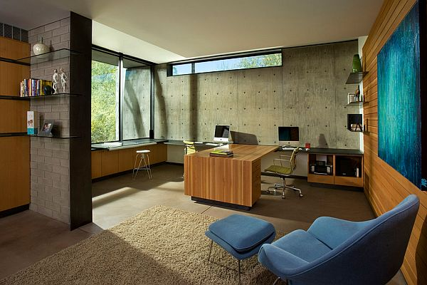 modern office with concrete wall