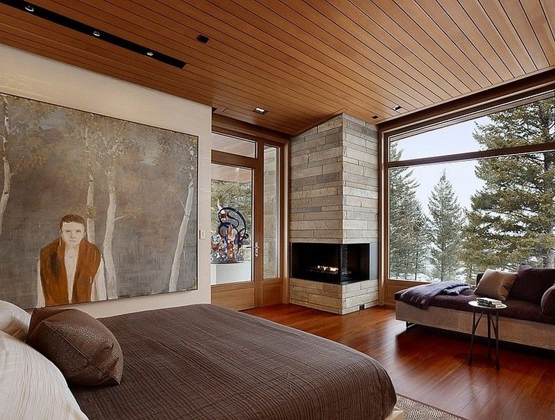 mountain house - bedroom with fireplace