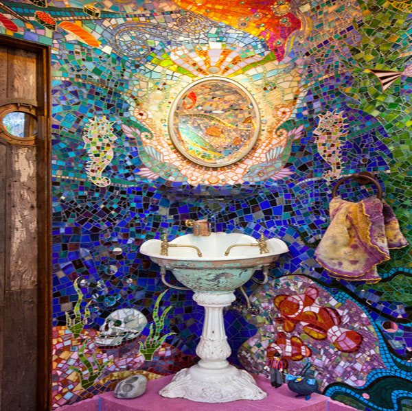 Beautiful Mosaic Walls Featuring Bits And Pieces Of Glass