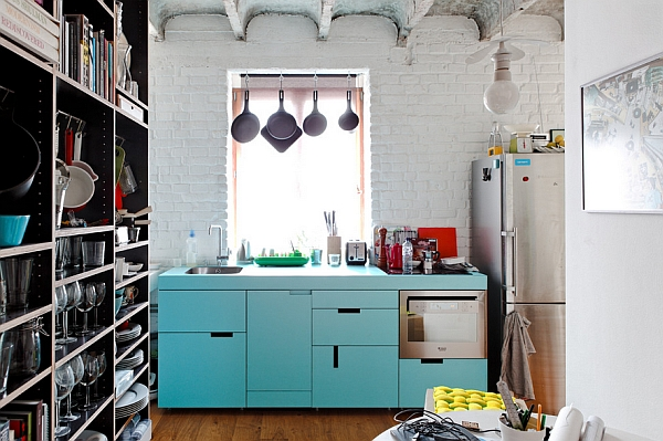 Robin's egg blue kitchen cabinets steal the show here