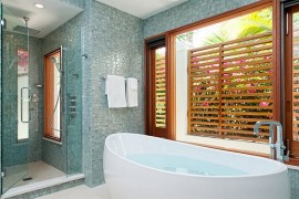 wall tiles and wood in bathroom