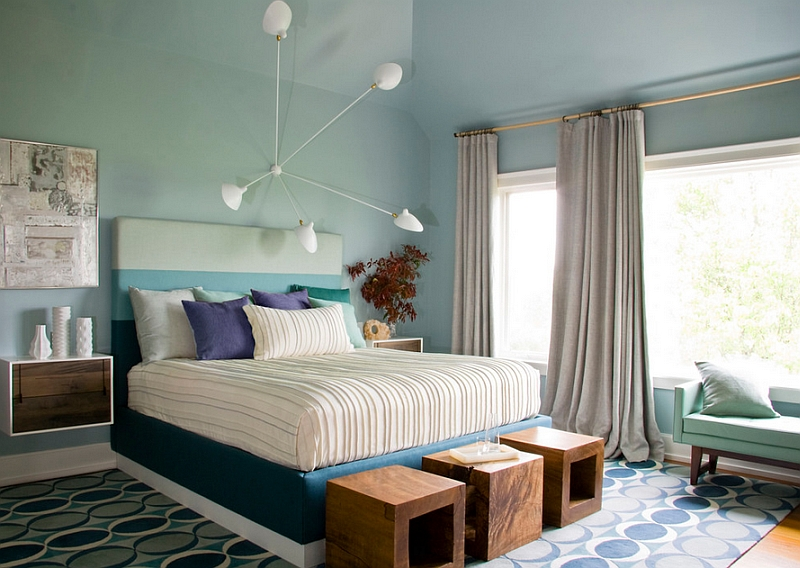 5 Arm Spider Sconce by Serge Mouille in a Gorgeous Blue Bedroom