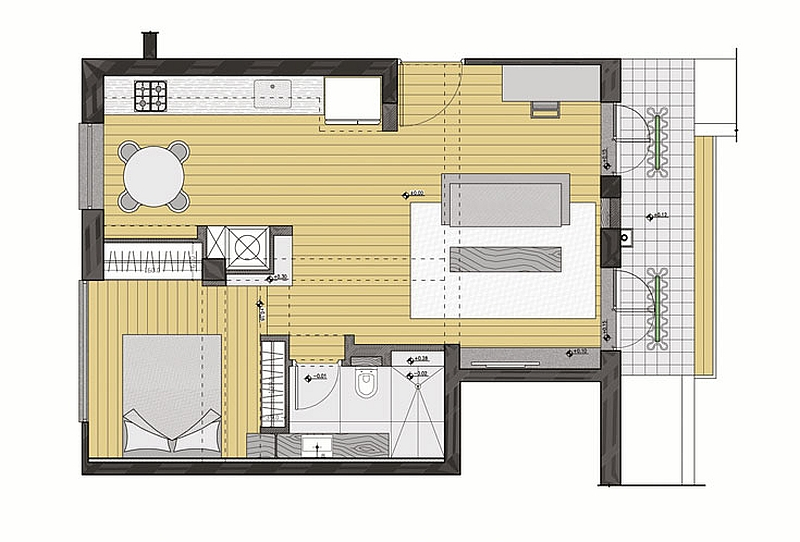 50 square meter apartment in Tel Aviv Floor plan
