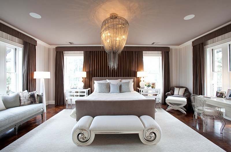 View In Gallery A Combination Of Floor Lamps And Stunning Chandelier In The  Bedroom