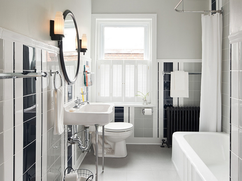 View In Gallery A Hint Of Retro In The Bathroom With White, Black And Gray