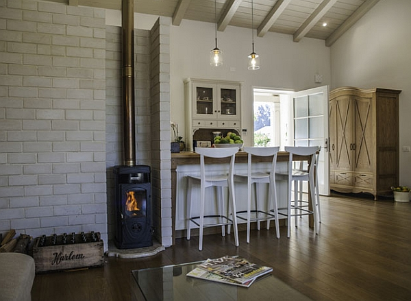 A warm fireplace in the living room