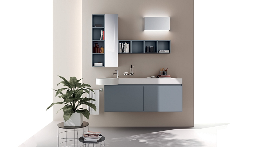 Add cool aviation blue to your modern bathroom