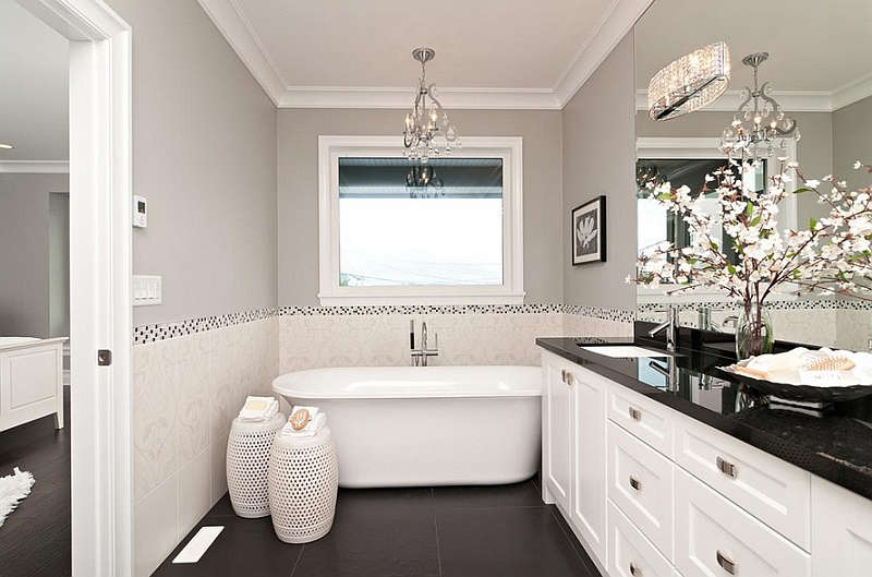 Black And White Bathrooms: Design Ideas, Decor And Accessories on grey powder room ideas, blue grey and black restroom, grey black tile restroom,