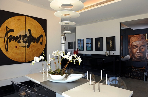 View In Gallery Asian Inspired Room With An Abstract Cascading Chandelier