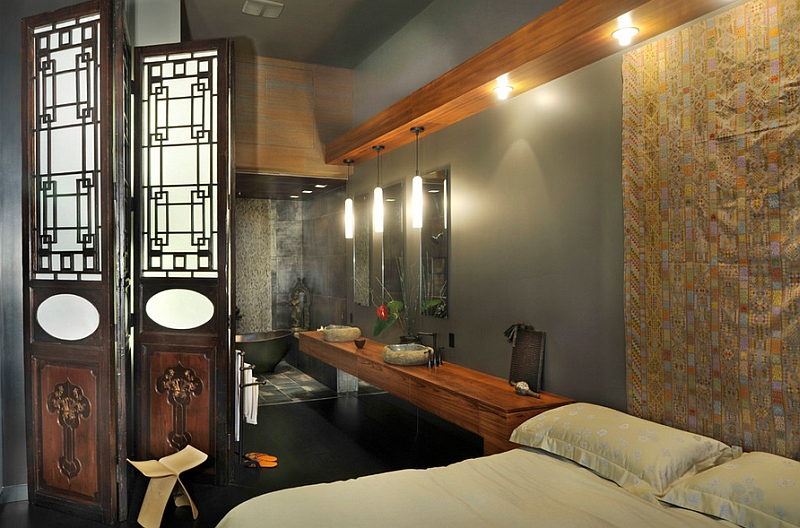 Asian themed master suite idea for the lavish contemporary home