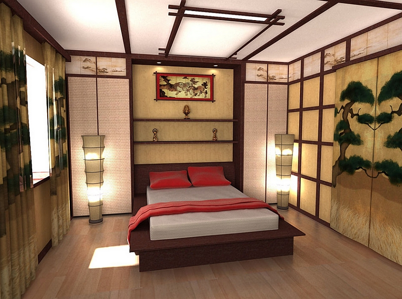 Bachelor pad bedroom with artistic asian style
