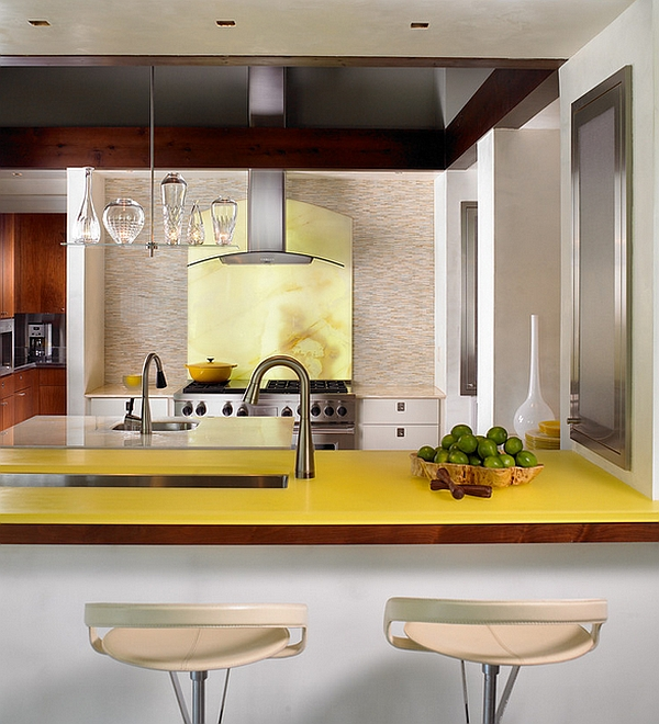 Backlit onyx in yellow makes for a brilliant backsplash