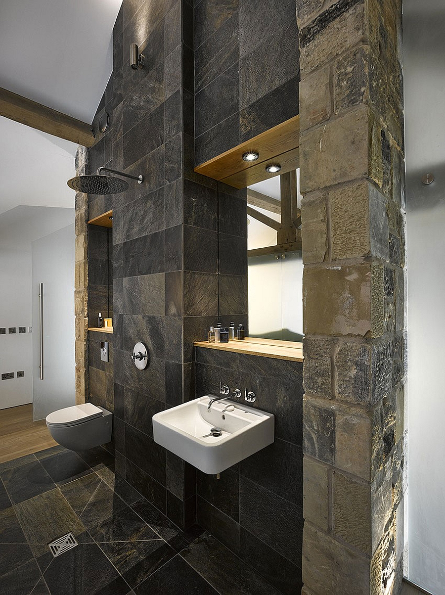 Bathroom with classic stone walls