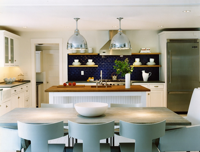 Beach style kitchen with a lovely blue backsplash