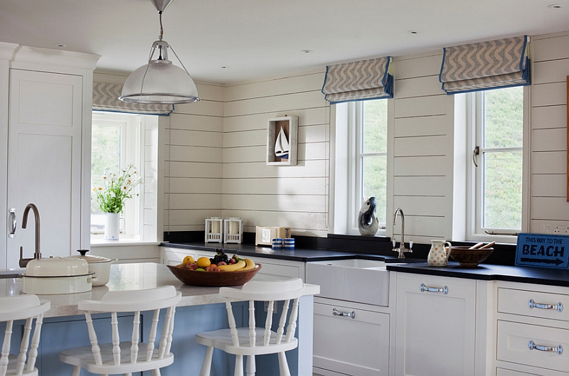 Beach style kitchen with chevron pattern shades