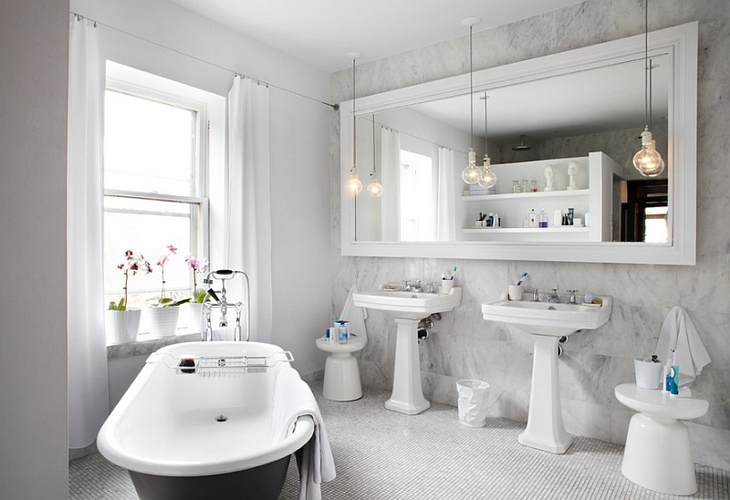 Beautiful contemporary bath with twin Martini side tables in white