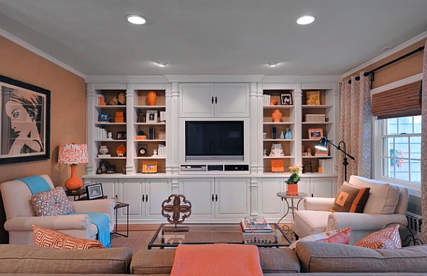 Beautiful family room with intechangable accent hues