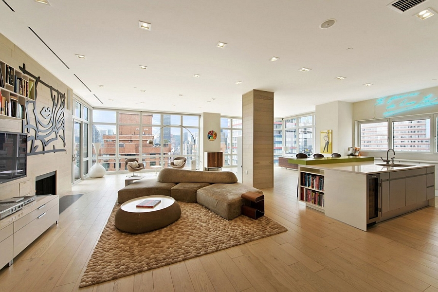 Beautiful open floor living room with iconic mid century modern decor Spectacular Views And Urbane Style Shape Gorgeous New York City Apartment