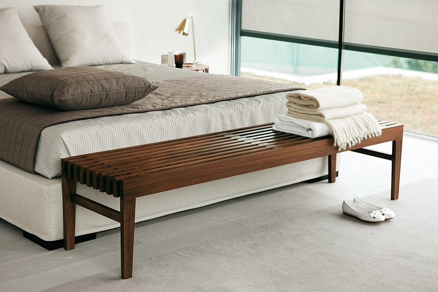 Bedroom bench that is slim and urbane