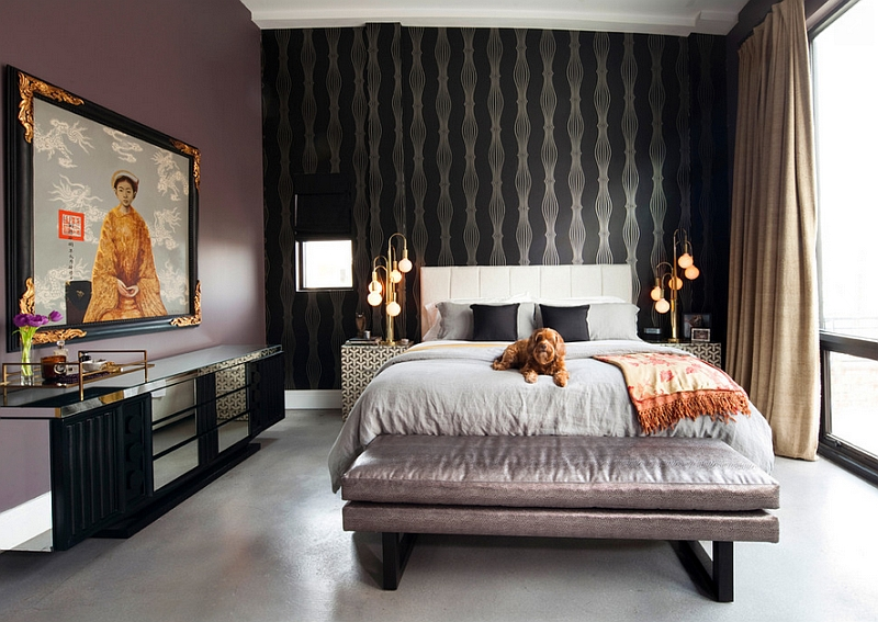 Bedroom blends industrial and oriental styles