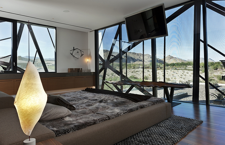 Bedroom with sweeping views of the desert landscape