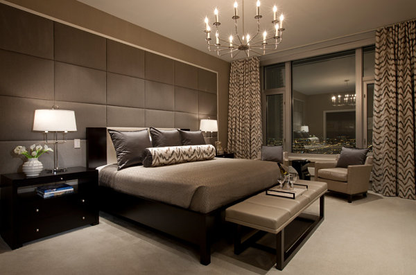 Black and taupe modern bedroom