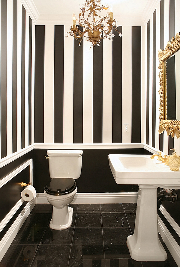 Black and white bathrooms design ideas decor and accessories - Black and white striped wall ...