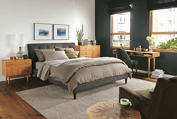 Black bed and chair for the bedroom
