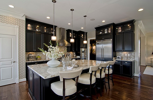 Black cabinets look impressive in a traditional setup