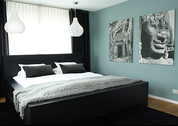 View In Gallery Black Contrasts A Soothing Blue Green Bedroom Wall The Chic Allure Of Bedroom Furniture