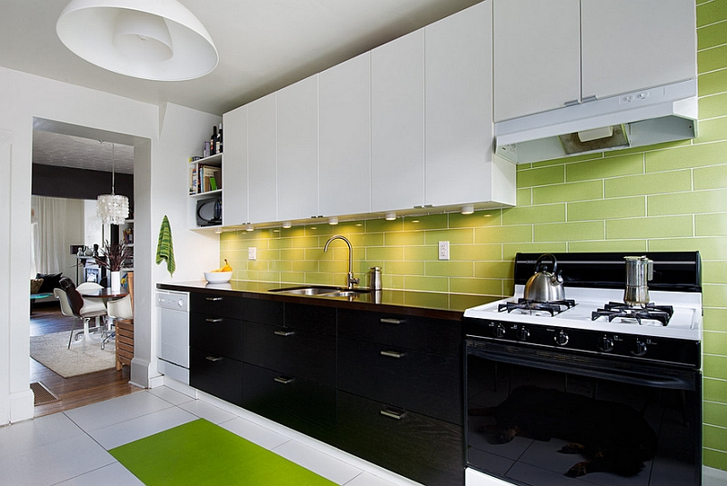 Black, white and green kitchen