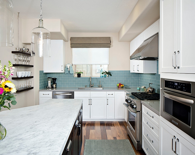 Kitchen backsplash ideas a splattering of the most for Light blue kitchen backsplash