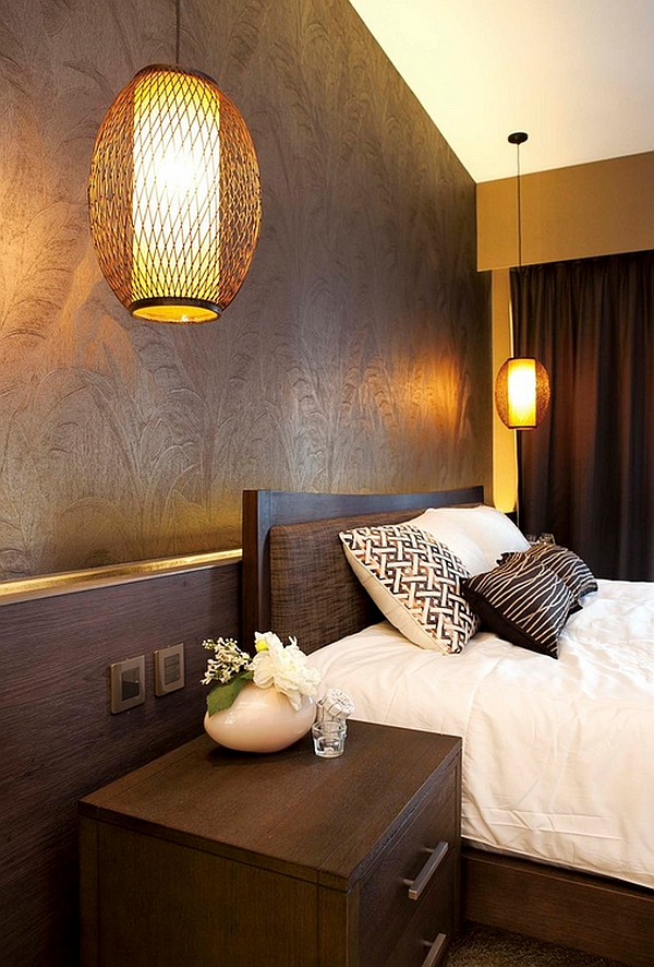 Bold lighting ideas for the asian themed bedroom