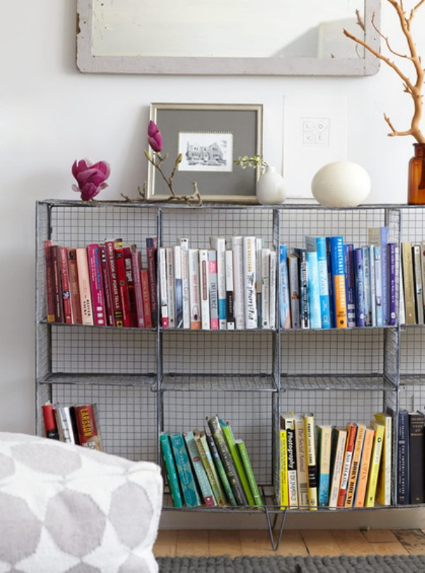 Books Arranged by Color on wire shelving.jpg