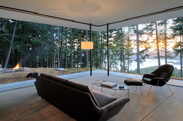 breathtaking scenery outside becomes the canvas for the open living room - Modernist Living Room