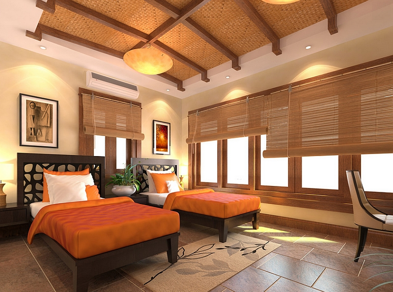 Bright orange and cool bamboo blinds offer wonderful contrast