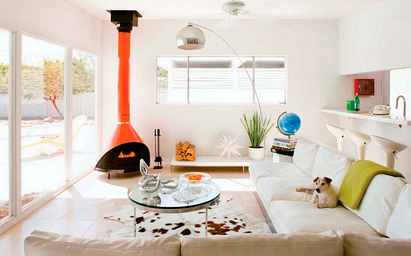 Bright orange retro fireplace in living room