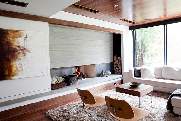 Brilliant design that makes the inventive fireplace the focal point!